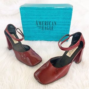Vintage Red American Eagle Block Heel